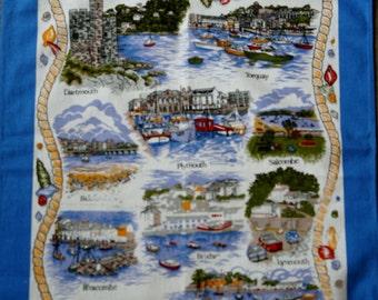 Devon Harbours retro Tea towel