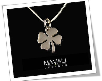 Clover Necklace, Sterling Silver Four Leaf Clover Necklace, Shamrock Necklace, Good Luck Necklace