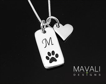 Paw Print Initial Necklace with Heart, Dog Necklace,Cat Necklace, Silver Paw Print Necklace, Animal Lover Necklace, Pet Memorial Necklace