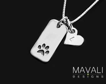 Paw Print Necklace with Initial Heart, Dog Necklace,Cat Necklace, Silver Paw Print Necklace, Animal Lover Necklace, Pet Memorial Necklace