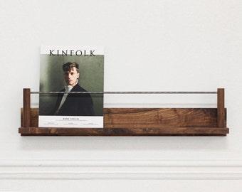 The Columnist : Walnut + Steel Magazine Rest (wall hanging magazine rack display ledge)