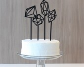 Geometric Cake Toppers: matte black gems (set of 4)