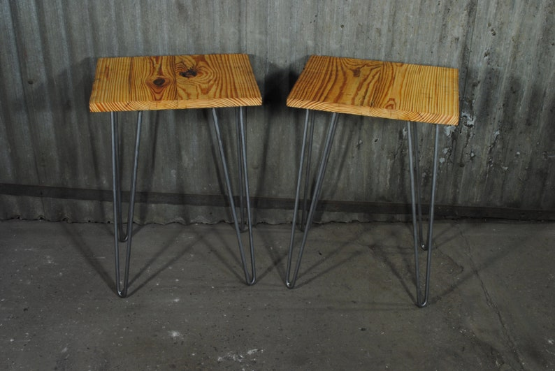 Rustic Hairpin Side Tables   Reclaimed Lumber   End Table   Bookmatch