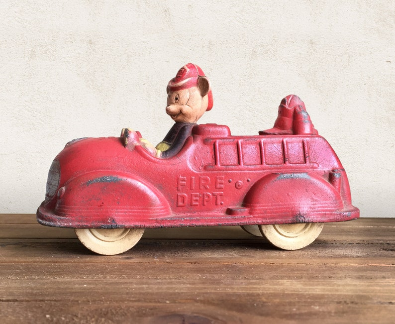 Sun Rubber Mickey Fire Truck Walt Disney Collectible Toy Vintage Mickey Mouse Push Toy 1930s Sun Rubber Toy Mickey Mouse Fire Engine