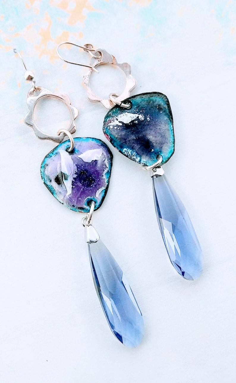 Enamel Earrings Vitreous Jewelry Art Crystal