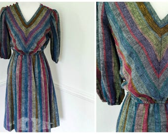 Gray Striped V Neck Dress, Size Small XS, Vintage Dress, Fall Midi Dress, Petite 70s 80s