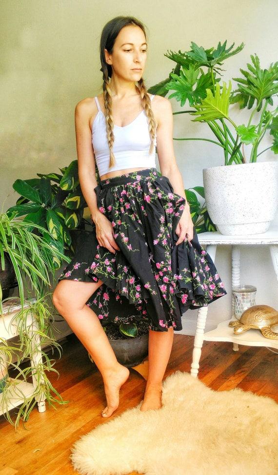Vintage 1950s Circle Skirt, Black Floral Midi Skir