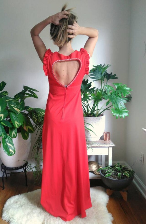 Vintage Red Formal Dress with Cut Out Back and rh… - image 2