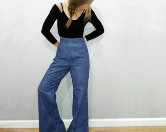 1970s Levis, Vintage Bell bottom blue jeans, size small or xs, 1940s style striped denim pants, 70s Levis