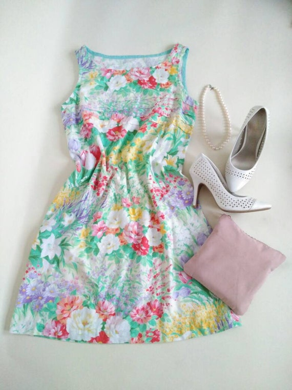 Floral Shift Dress, Wild Flower Print Dress, XS Small Medium Large 80s 90s grunge babydoll festival boho floral hippie hipster mini pastel