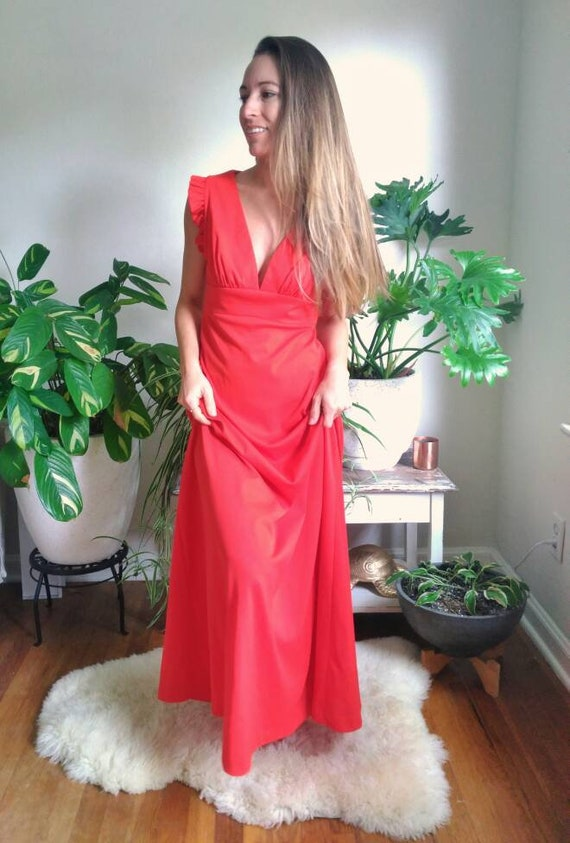 Vintage Red Formal Dress with Cut Out Back and rh… - image 3