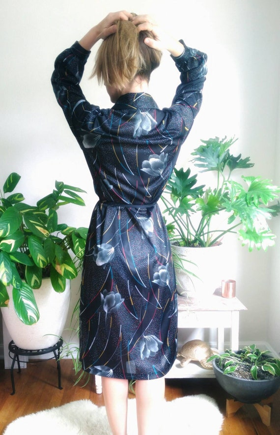 Black Floral Art Deco Slinky 1980s Abstract Long S