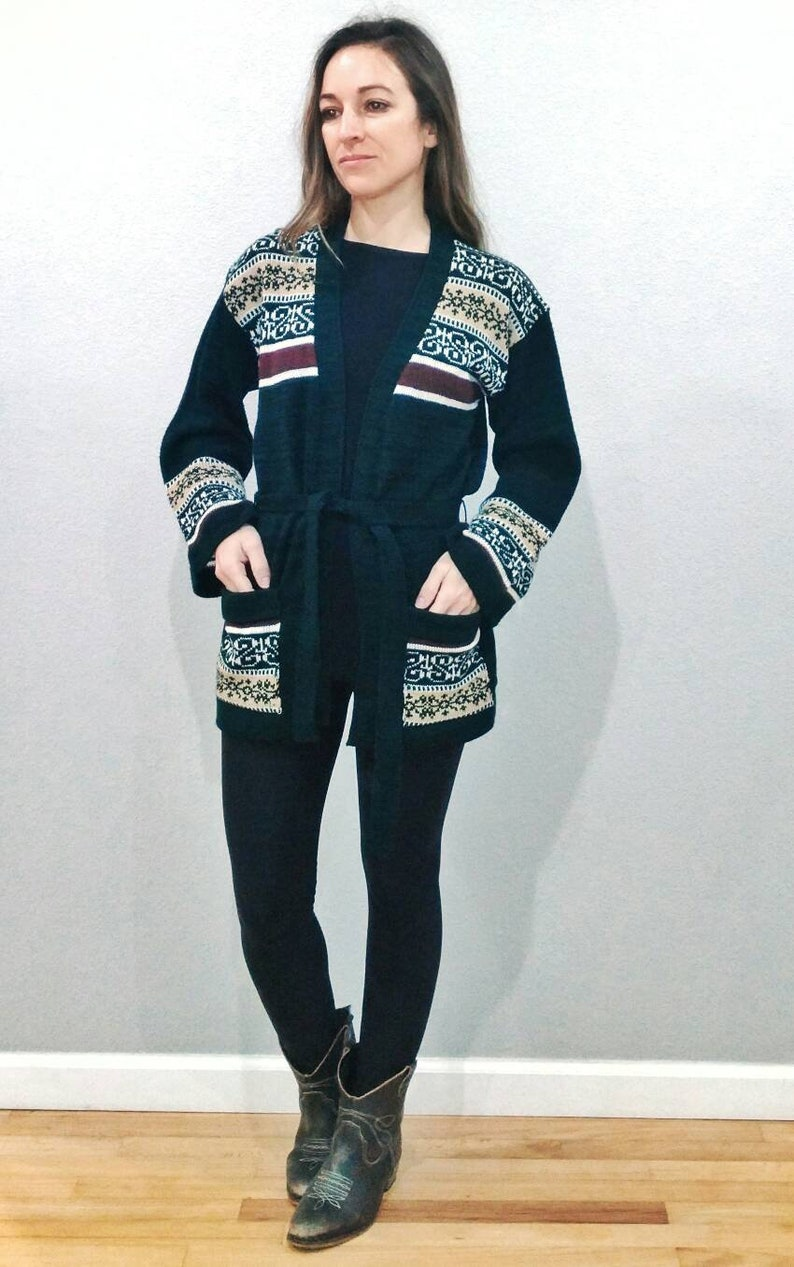 Small xs Bell Sleeve Hippie Sweater Vintage Cardigan Sweater Tribal green and brown Boho