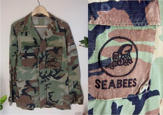 SeaBees Vintage Military Jacket, Unisex Camouflage