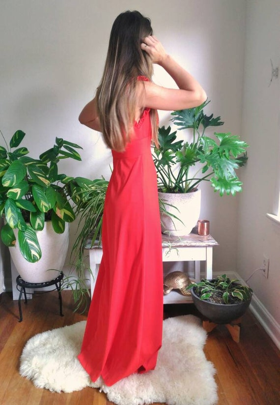 Vintage Red Formal Dress with Cut Out Back and rh… - image 6