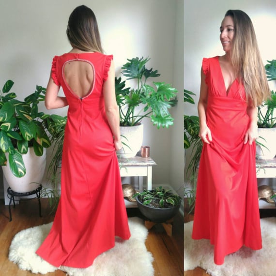 Vintage Red Formal Dress with Cut Out Back and rhi