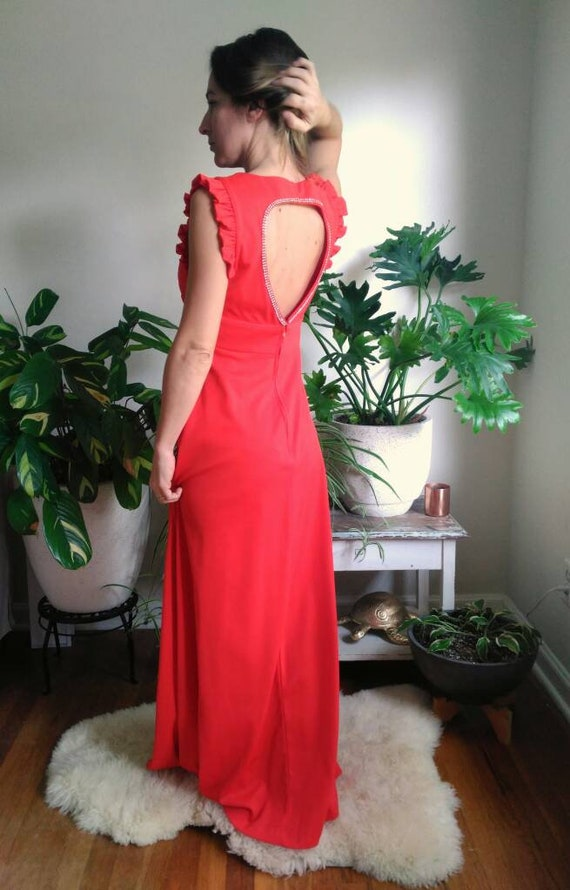 Vintage Red Formal Dress with Cut Out Back and rh… - image 8