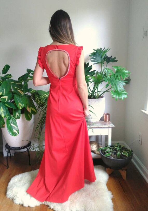 Vintage Red Formal Dress with Cut Out Back and rh… - image 4