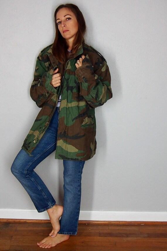 Vintage Military Jacket, Unisex Camouflage Jacket,