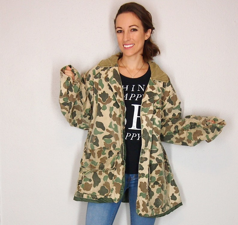 2f824a66614 Vintage Hunting Military Style Camo Jacket with Cordoroy