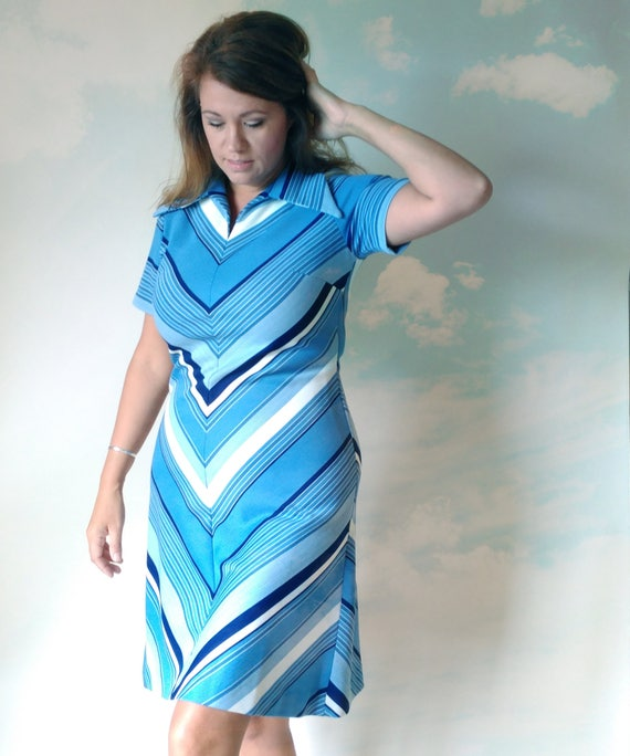 Vintage Blue Dress, Chevron Pattern, Large, 60s 70