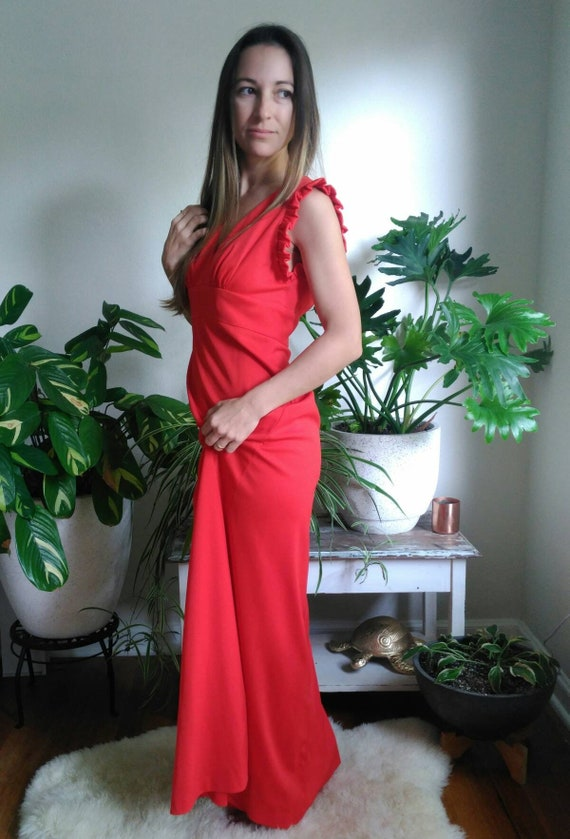 Vintage Red Formal Dress with Cut Out Back and rh… - image 9