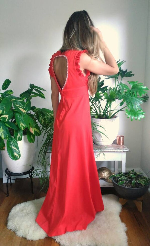 Vintage Red Formal Dress with Cut Out Back and rh… - image 7