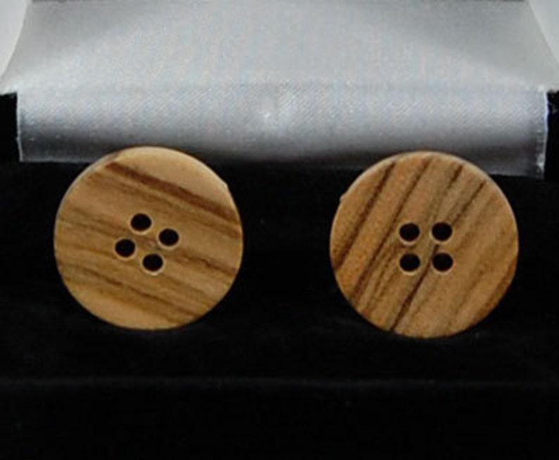 cufflinks:  Olive Wood round flat style image 0