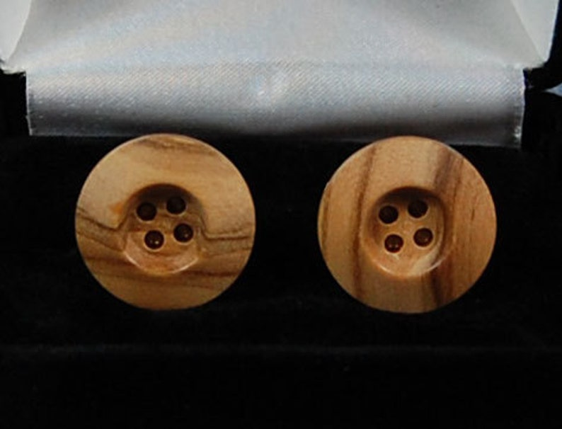 Cufflinks:  Olive Wood wide rim style image 0