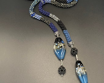Dramatic Bead Crochet Lariat, Blue Bead Crochet Necklace, bead crochet, crochet necklace, lariat necklace, Artisan Jewelry, Sher Berman