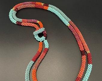 Double strand Bead Crochet Necklace, bead crochet necklace, turquoise and rust Bead Crochet Necklace, Artisan Jewelry, Sher Berman