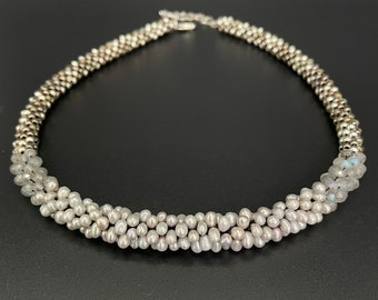 Pearl Bead Crochet Necklace, Pearl necklace, Fresh water pearl necklace, Crocheted Beads, Artisan Jewelry, Sher Berman