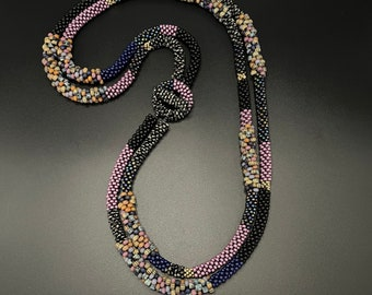 Double strand Bead Crochet Necklace, bead crochet necklace, multi color necklace, Artisan Jewelry, Sher Berman
