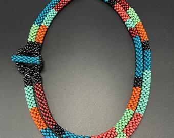 Double strand Bead Crochet necklace, Bead Crochet Necklace, Artisan Jewelry, Sher Berman