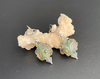 Lampwork Glass Bead Earrings, crystal and glass earrings, glass earrings, Lampwork Bead Earrings, Artisan Jewelry, Sher Berman