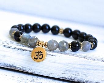 Black Tourmaline Bracelet, Labradorite Mala Bracelet, Wrist Mala Beads, Yoga Bracelet, Spiritual Jewelry, Yoga Jewelry