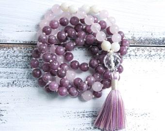 Knotted Mala Beads 108, Lepidolite Moonstone Rose Quartz Mala Necklace, Yoga Jewelry, Tassel Necklace Boho Jewelry