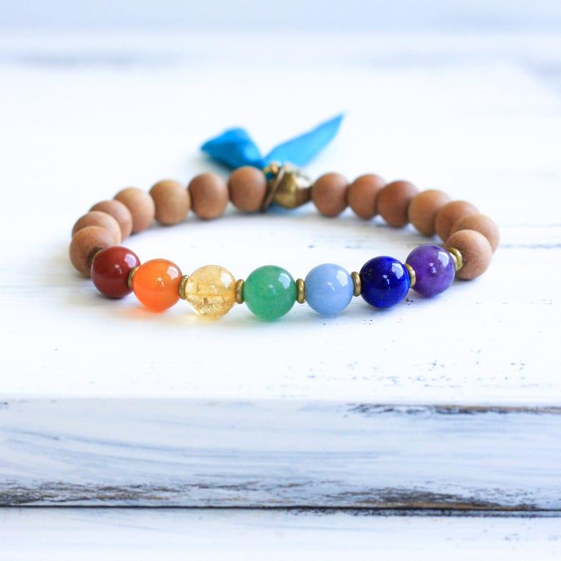 7 Chakra Bracelet, Sandalwood Mala Bracelet, Chakra Mala Beads, Sandalwood  Bracelet, Spiritual Jewelry, Yoga Jewelry, Tassel, Boho