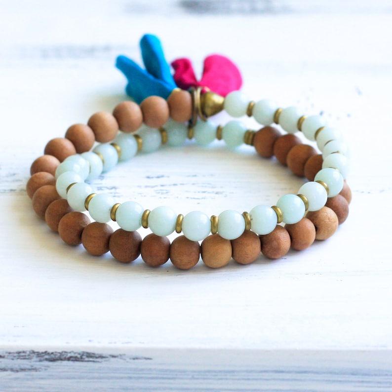 Amazonite Mala Bracelet, Sandalwood Mala Beads, Amazonite Bracelet,  Sandalwood Bracelet, Boho Jewelry, Yoga Jewelry, Spiritual Jewelry