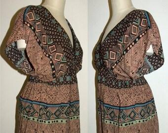 1990s 90s Boho Revival Dress / BOHO Ethnic Tribal Mixed Print Bohemian / Vintage