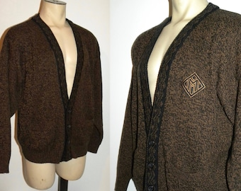 "1980s 80s Cardigan Sweater / Brown Jumper with Crest / Marquis Men's Cardigan/ Vintage XL measures 50"" chest"