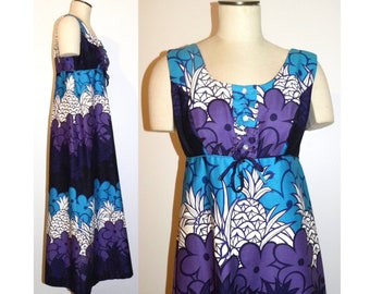 6c173dac19a9 1960s 60s Pineapple Print Hawaiian Maxi Dress Sears Hawaii   Blue Purple  Muu Muu Hostess Dress   Vintage size 16 fits Smaller