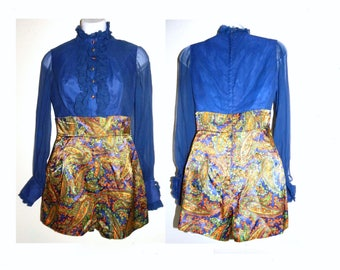 1960s 60s Hot Pants Romper / One Piece GO GO Sheer Blouse & Paisley shorts / Mod one of a kind / XXS