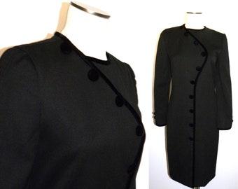 1970s 70s Carolina Herrera Black Wool & Velvet Dress / Classic Elegant Fits like a Small