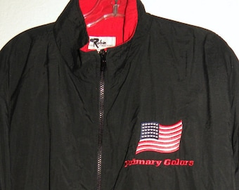 091fab352c580a Vintage US Flag Windbreaker   Primary Colors MOVIE Crew Jacket Promotional    America President Travolta   Clinton   M
