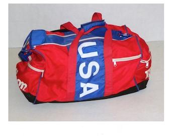 7405de7c4b31 Vintage 90s Retro Wilson Team USA Duffel Bag   Red White Blue Nylon Gym Bag    24