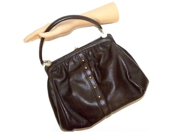 adbb2035bf8a 1950s 1960s Dofan made FRANCE Purse   Brown Leather Top Handle MOD Luxury  Vintage   50s 60s hand bag