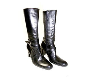 3f397423d6 Vintage 90s BLACK Leather Boots / Charles David Italy High Heels Straps /  Chic! Size 36