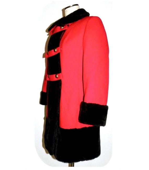 1960's 60s MOD Princess Coat / RED Wool Russian P… - image 4