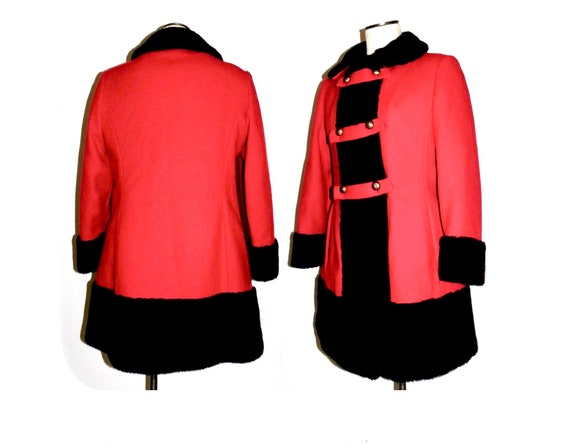 1960's 60s MOD Princess Coat / RED Wool Russian P… - image 9